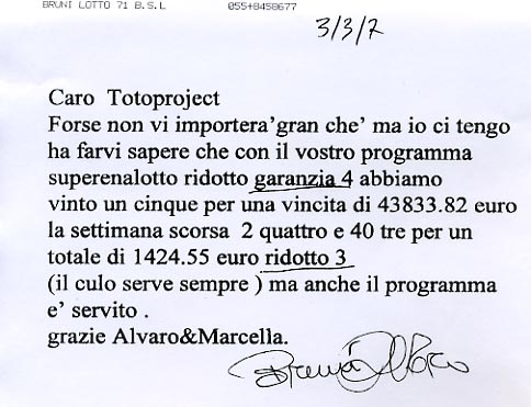 Totoproject Superenalotto fa vincere 43.000 euro al Superenalotto